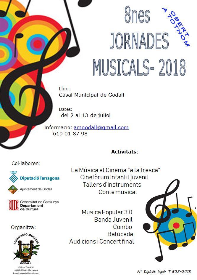 Cartell de les vuitenes jornades musicals d'estiu de l'Agrupació Musical de Godall