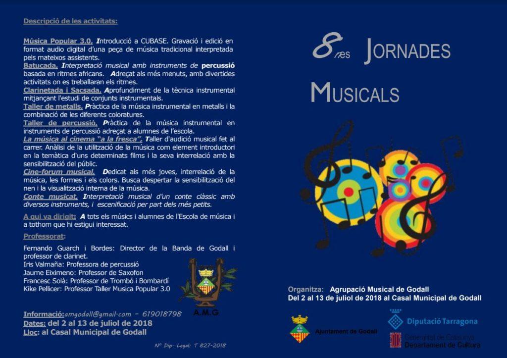 Programa de les vuitenes jornades musicals de l'Agrupació Musical de Godall, part frontal